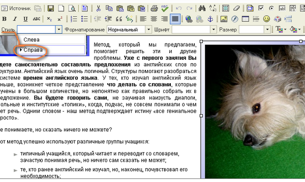 Подключаем свои классы (class=left и) и стили в редактор FCKEditor